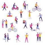 Σύνολο νέων που έχουν τη διασκέδαση υπαίθρια ελεύθερη απεικόνιση δικαιώματος