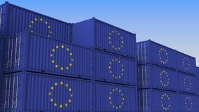 Σύνολο ναυπηγείων εμπορευματοκιβωτίων των εμπορευματοκιβωτίων με τη σημαία της Ευρωπαϊκής Ένωσης Η εξαγωγή ή η εισαγωγή της ΕΕ αφ ελεύθερη απεικόνιση δικαιώματος