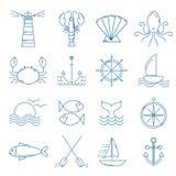 Σύνολο ναυτικών εικονιδίων στο σύγχρονο λεπτό ύφος γραμμών διανυσματική απεικόνιση
