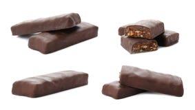 Σύνολο νόστιμων γλυκών πρωτεϊνικών φραγμών στοκ εικόνα