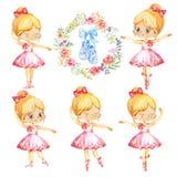 Σύνολο ξανθού κοριτσιού χορευτών χαρακτήρα πριγκηπισσών Ballerina Χαριτωμένα κορίτσια παιδιών που φορούν τη ρόδινη κατάρτιση κοστ απεικόνιση αποθεμάτων