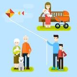 Σύνολο οικογένειας απεικονίσεων στις διακοπές στο πάρκο Ελεύθερη απεικόνιση δικαιώματος