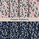 Σύνολο οκτώ άνευ ραφής διανυσματικών σχεδίων άνοιξη με συρμένη τη χέρι τυπωμένη ύλη λουλουδιών σχέδιο για το κλωστοϋφαντουργικό π ελεύθερη απεικόνιση δικαιώματος