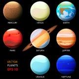 Σύνολο οκτώ πλανητών του ηλιακού συστήματος Ουράνιο και Ποσειδώνας του γήινου Άρη Δίας Κρόνος της Αφροδίτης υδραργύρου t διανυσματική απεικόνιση