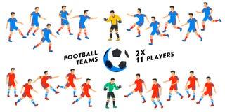 Σύνολο ομάδας ποδοσφαίρου Δύο πλήρεις ομάδες ποδοσφαίρου, 11 φορείς Ποδοσφαιριστές στις διαφορετικές θέσεις που παίζουν το ποδόσφ απεικόνιση αποθεμάτων