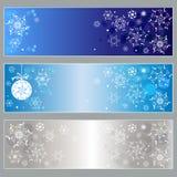 Σύνολο οριζόντιων εμβλημάτων με άσπρα snowflakes Διανυσματικό illustra Στοκ εικόνα με δικαίωμα ελεύθερης χρήσης
