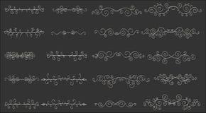 Σύνολο οριζόντιων hand-drawn διαμορφωμένων εμβλημάτων διανυσματική απεικόνιση
