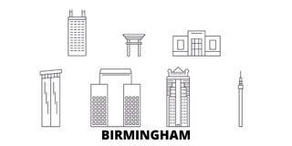 Σύνολο οριζόντων ταξιδιού Ηνωμένων, Μπέρμιγχαμ γραμμών Διανυσματική απεικόνιση πόλεων Ηνωμένων, Μπέρμιγχαμ περιλήψεων, σύμβολο διανυσματική απεικόνιση