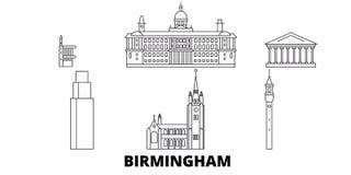 Σύνολο οριζόντων ταξιδιού Ηνωμένων, Μπέρμιγχαμ γραμμών Διανυσματική απεικόνιση πόλεων Ηνωμένων, Μπέρμιγχαμ περιλήψεων, σύμβολο ελεύθερη απεικόνιση δικαιώματος
