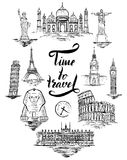 Σύνολο ορόσημου Agra, Κάιρο, Ρίο de janeiro, Πίζα, Μαδρίτη, Νέα Υόρκη, Μόσχα, Παρίσι, Ρώμη, Λονδίνο απεικόνιση αποθεμάτων