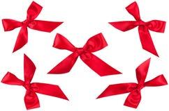 Σύνολο πέντε κόκκινων τόξων κορδελλών στη διαφορετική θέση Στοκ Εικόνες