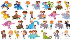 Σύνολο παιδιών που οδηγούν τα ζώα διανυσματική απεικόνιση