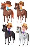 Σύνολο παιδιών που οδηγούν το άλογο ελεύθερη απεικόνιση δικαιώματος