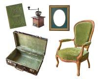Σύνολο 5 πανέμορφων παλαιών εκλεκτής ποιότητας στοιχείων Βαλίτσα, βιβλίο, μύλος καφέ, πλαίσιο, καρέκλα η ανασκόπηση απομόνωσε το  στοκ φωτογραφία