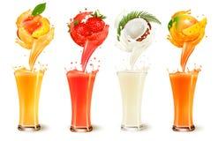 Σύνολο παφλασμού χυμού φρούτων σε ένα γυαλί Φράουλα, ροδάκινο, καρύδα ελεύθερη απεικόνιση δικαιώματος