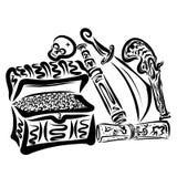 Σύνολο πειρατών, στήθος του χρυσού, χάρτης, κρανίο και όπλα ελεύθερη απεικόνιση δικαιώματος