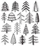 Σύνολο περίκομψων χριστουγεννιάτικων δέντρων doodle Στοκ Εικόνες
