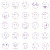 Σύνολο περίληψης emoticons, emoji που απομονώνεται στο άσπρο υπόβαθρο απεικόνιση αποθεμάτων