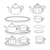 Σύνολο περιλήψεων teapots teatime Απεικόνιση αποθεμάτων