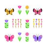 Σύνολο πεταλούδων και λουλουδιών r διανυσματική απεικόνιση
