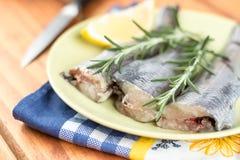 Σύνολο πιάτων με τα φρέσκο ακατέργαστο ψάρια μπακαλιάρων και το λεμόνι και τον κλάδο δεντρολιβάνου Στοκ εικόνα με δικαίωμα ελεύθερης χρήσης