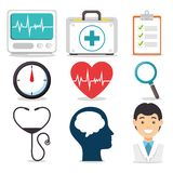 Σύνολο πνευματικών υγειών και ιατρικών εικονιδίων διανυσματική απεικόνιση