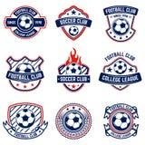 Σύνολο ποδοσφαίρου, εμβλήματα ποδοσφαίρου Στοιχείο σχεδίου για το λογότυπο, ετικέτα, έμβλημα, σημάδι Στοκ Φωτογραφία