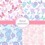 Σύνολο πολύχρωμου άνευ ραφής σχεδίου με τα λουλούδια και butterflie Στοκ εικόνες με δικαίωμα ελεύθερης χρήσης