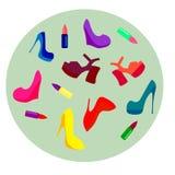 σύνολο πολύχρωμων παπουτσιών και κραγιόν στα υψηλά τακούνια σε έναν σκοτεινό συμβολισμό υποβάθρου της θηλυκότητας και της ημέρας  διανυσματική απεικόνιση