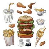 Σύνολο ποτών στοιχείων χρώματος γρήγορου φαγητού, burgers, πρόχειρα φαγητά, παγωτό που απομονώνεται στο άσπρο υπόβαθρο στοκ εικόνες