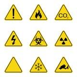 Σύνολο προειδοποιητικών σημαδιών τριγώνων Προειδοποιώντας roadsign εικονίδιο Σημάδι κίνδυνος-προειδοποίηση-προσοχής Κίτρινη ανασκ ελεύθερη απεικόνιση δικαιώματος