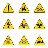 Σύνολο προειδοποιητικών σημαδιών τριγώνων Προειδοποιώντας roadsign εικονίδιο Σημάδι κίνδυνος-προειδοποίηση-προσοχής Κίτρινη ανασκ διανυσματική απεικόνιση