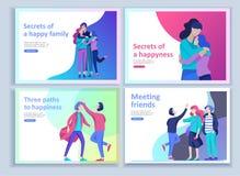 Σύνολο προσγειωμένος προτύπων σελίδων για τη θετική ψυχολογία, οικογενειακή ψυχοθεραπεία ομάδας Ο ευτυχής χαρακτήρας φίλων έχει τ ελεύθερη απεικόνιση δικαιώματος