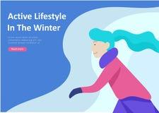 Σύνολο προσγειωμένος προτύπων σελίδων Οι άνθρωποι έντυσαν στα χειμερινό ενδύματα ή outerwear εκτελώντας την υπαίθρια διασκέδαση δ απεικόνιση αποθεμάτων