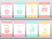 Σύνολο προσκλήσεων γενεθλίων στις κάρτες εγγράφου, αφίσα, χαιρετισμός, πρότυπο, ζώα, κουνέλι, κέικ, παγωτό, διανυσματικές απεικον Στοκ εικόνα με δικαίωμα ελεύθερης χρήσης
