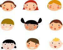 σύνολο προσώπων s παιδιών Στοκ Φωτογραφία