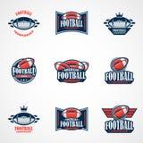 Σύνολο προτύπου λογότυπων αμερικανικού ποδοσφαίρου Διανυσματικά λογότυπα κολλεγίου άρρωστα στοκ φωτογραφία