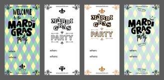 Σύνολο προτύπου πρόσκλησης της Mardi Gras καρναβάλι με τον τίτλο της Mardi Gras στοκ φωτογραφίες