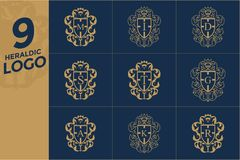 Σύνολο προτύπου σχεδίου λογότυπων οικοσημολογίας Στοκ εικόνα με δικαίωμα ελεύθερης χρήσης