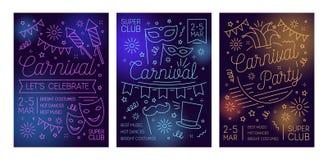 Σύνολο προτύπων αφισών ή πρόσκλησης για τη σφαίρα μεταμφιέσεων, καρναβάλι, κόμμα κοστουμιών, εορταστική απόδοση με τις μάσκες, κα διανυσματική απεικόνιση