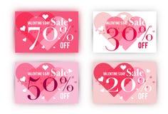 Σύνολο προτύπων δελτίων πώλησης ημέρας βαλεντίνων ` s Στοκ Εικόνες