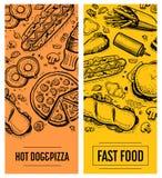Σύνολο προτύπων καρτών επιλογών εστιατορίων γρήγορου φαγητού Στοκ εικόνα με δικαίωμα ελεύθερης χρήσης