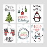 Σύνολο προτύπων καρτών Χριστουγέννων με συρμένα τα χέρι στοιχεία ελεύθερη απεικόνιση δικαιώματος
