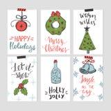 Σύνολο προτύπων καρτών Χριστουγέννων με συρμένα τα χέρι στοιχεία διανυσματική απεικόνιση