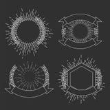 Σύνολο προτύπων λογότυπων ηλιοφάνειας hipster επίσης corel σύρετε το διάνυσμα απεικόνισης Στοκ Εικόνες