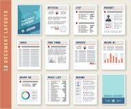 Σύνολο προτύπων προτύπων σχεδιαγράμματος εκθέσεων εγγράφων στοκ εικόνες