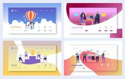 Σύνολο προτύπων σελίδων επιχειρησιακής προσγείωσης Κοινωνικά μέσα χαρακτήρων επιχειρηματιών, καινοτομία, έννοια αύξησης σταδιοδρο διανυσματική απεικόνιση