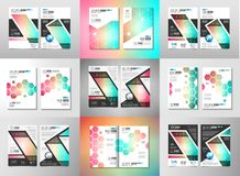 Σύνολο προτύπων φυλλάδιων, σχεδίου ιπτάμενων ή καλύψεων Depliant για διανυσματική απεικόνιση