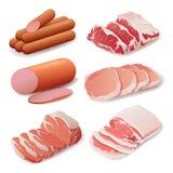 Σύνολο προϊόντων κρέατος στο επίπεδο ύφος, μαγείρεμα, λιχουδιές διανυσματική απεικόνιση