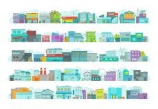 Σύνολο πόλης κτηρίων αρχιτεκτονικής Μακριά οδός πόλεων Επίπεδη διανυσματική γραφική παράσταση αποθεμάτων Πολλές διάφορες λεπτομέρ διανυσματική απεικόνιση